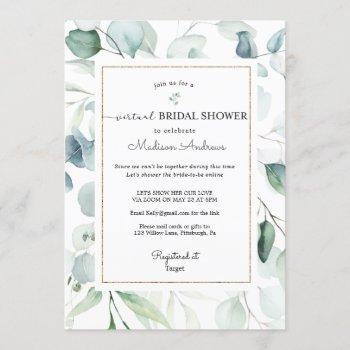 eucalyptus virtual bridal shower invitation