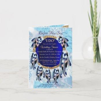 exotic blue dream catcher couple shower invitation