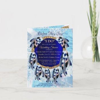 exotic blue dream catcher couple shower invitation