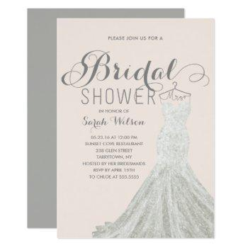 extravagant dress blush | bridal shower invitation
