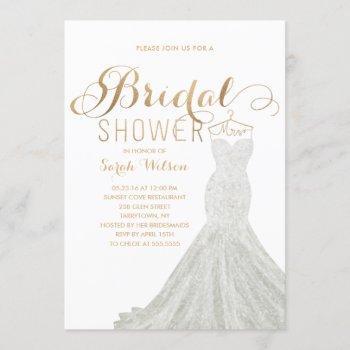 extravagant dress gold | bridal shower invitation