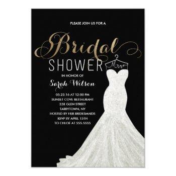 extravagant dress gold custom color| bridal shower invitation