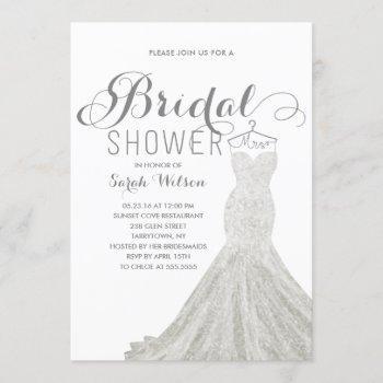 extravagant dress white | bridal shower invitation