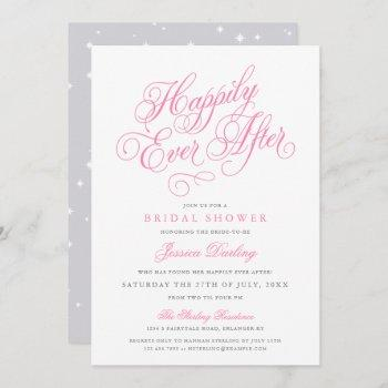 fairytale bridal shower invitations in pink & gray