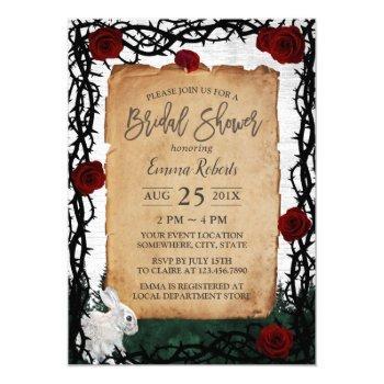 fairytale forest rabbit rose & thorn bridal shower invitation