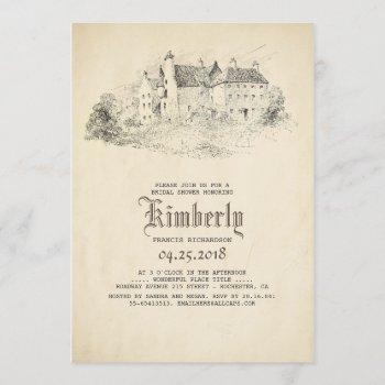 fairytale old castle vintage bridal shower invitation
