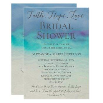 faith hope love watercolor elegant bridal shower invitation