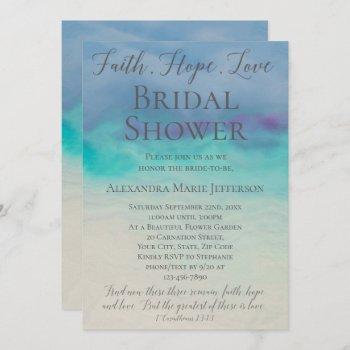 faith hope love watercolor elegant bridal shower invitation
