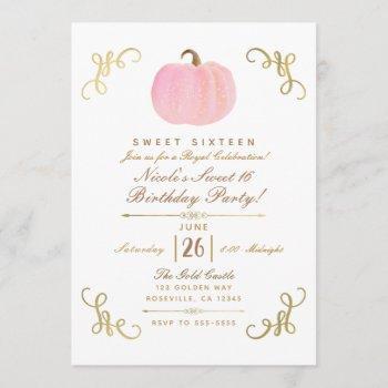fall autumn pink sparkle pumpkin sweet 16 party invitation