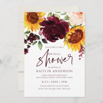 fall bridal shower sunflower roses burgundy red invitation