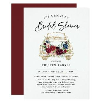 fall burgundy drive by bridal shower invitation
