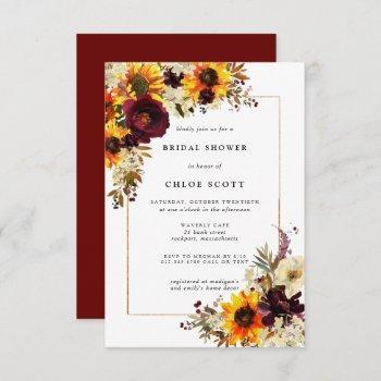 fall flowers sunflower rose bridal shower invitation