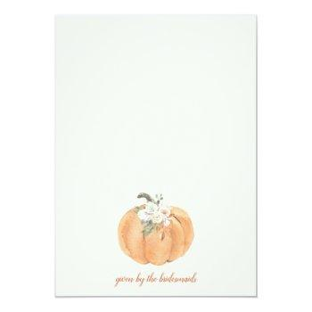 Fall Harvest Pumpkin Bridal Shower Invitation Front View