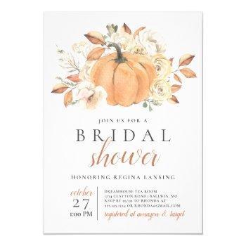 fall harvest pumpkin bridal shower invitation