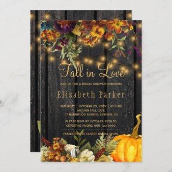 fall in love autumn floral barn wood bridal shower invitation