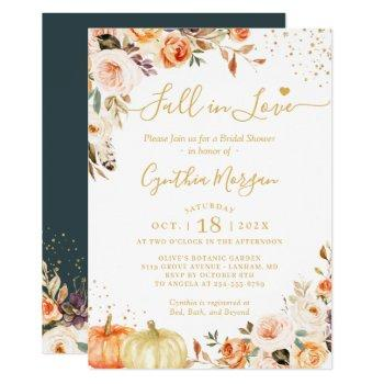 fall in love autumn gold chic floral bridal shower invitation