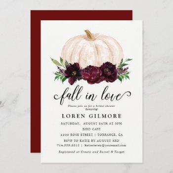 fall in love autumn pumpkin bridal shower invitation