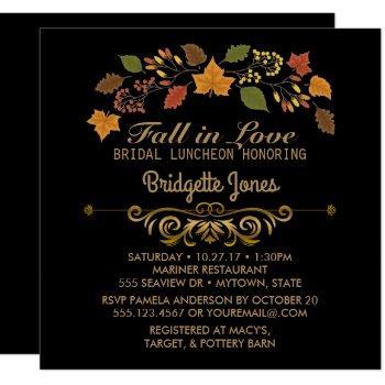 fall in love bridal luncheon autumn wedding shower invitation