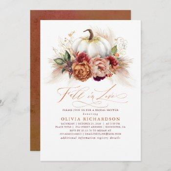 fall in love bridal shower rust flowers pumpkin  invitation