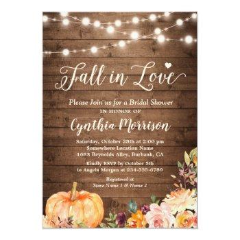 Fall In Love Bridal Shower Rustic Pumpkin Floral Invitation Front View