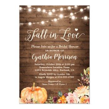 fall in love bridal shower rustic pumpkin floral invitation