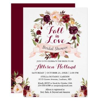 fall in love burgundy floral wreath bridal shower invitation