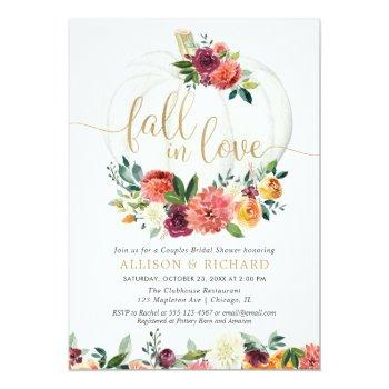 Fall In Love Burgundy Gold Couples Bridal Shower Invitation Front View