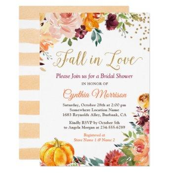 fall in love floral pumpkin autumn bridal shower invitation