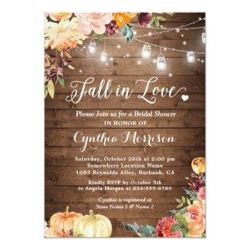 Fall In Love Floral String Lights Bridal Shower Invitation Front View