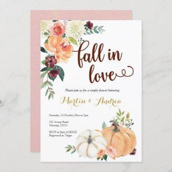 fall in love pumpkin couple shower invitation