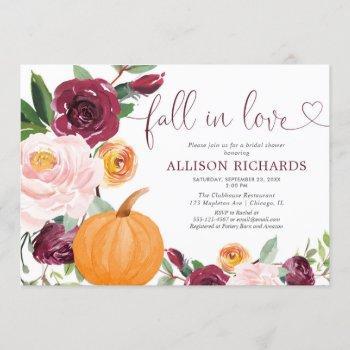 fall in love pumpkin floral burgundy bridal shower invitation
