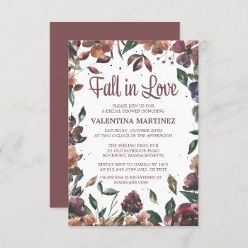 fall in love purple floral bridal shower invitation