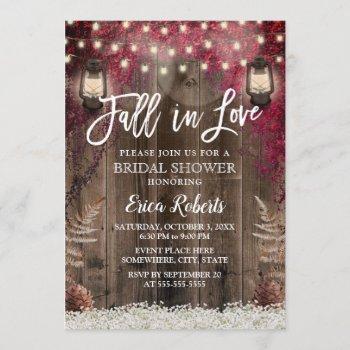 fall in love rustic flower & lantern bridal shower invitation