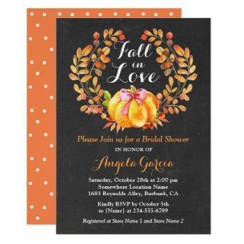fall in love rustic pumpkin bridal shower invite