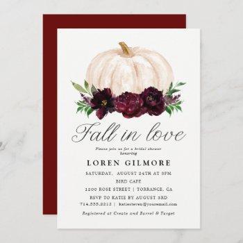 fall in love | watercolor pumpkin bridal shower invitation