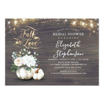 Fall In Love White Pumpkin Rustic Bridal Shower Invitation Front View