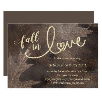 fall in love with autumn   elegant bridal shower invitation
