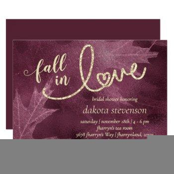 fall in love with autumn   mulberry bridal shower invitation