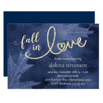 fall in love with autumn   navy blue bridal shower invitation