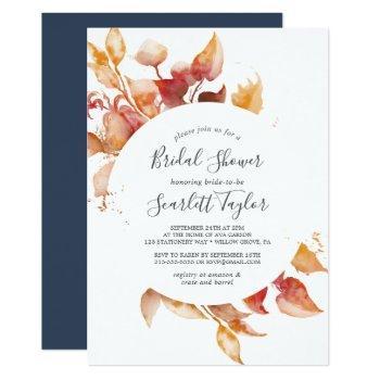 fall leaves | white & burgundy bridal shower invitation
