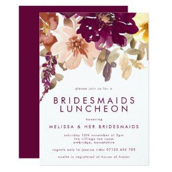 fall plum floral bridesmaids luncheon invitation