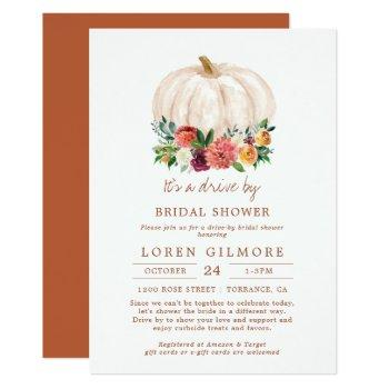 fall pumpkin drive by bridal shower invitation