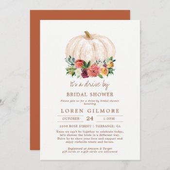 fall pumpkin drive by bridal shower invitation