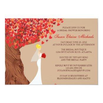 falling hearts oak tree fall bridal shower invitation