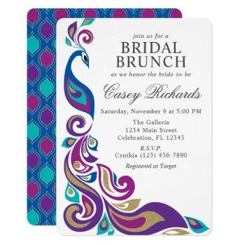 fancy peacock purple and teal bridal shower invitation