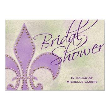 fancy script purple fleur de lis bridal shower invitation