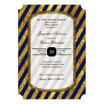 faux gold art deco navy blue stripes bridal shower invitation