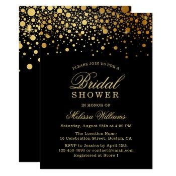 faux gold foil confetti | black bridal shower invitation