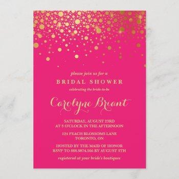 faux gold foil confetti | hot pink bridal shower invitation