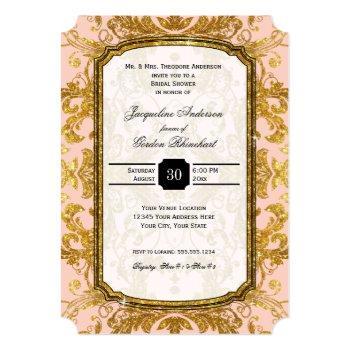 faux gold glitter ticket vintage bridal shower invitation